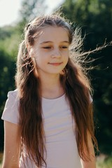 Closeup view portrait of lovely pre-teen girl