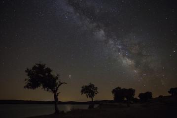 Night sky with milky way in Alentejo, Portugal