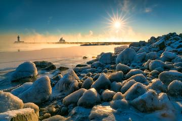 Sun star and sea smoke at Lake Superior