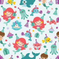 Vector Mermaid Birthday Sea Friends Seamless Pattern Background