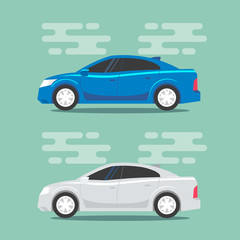 Blue and white sedans in flat color style. City car vehicle transportation icons. Vector illustrations.