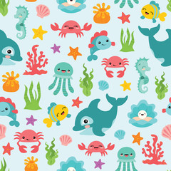 Vector Cute Sea Animals Seamless Pattern Background
