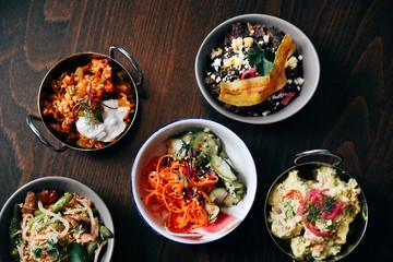 Assorted savory dishes