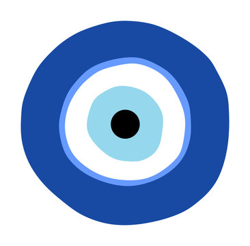 Greek evil eye vector, symbol of protection. Glass Turkish eye Nazar Boncugu. Amulet, talisman from the evil eye.