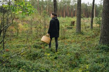 Girl Picking Mushrooms.