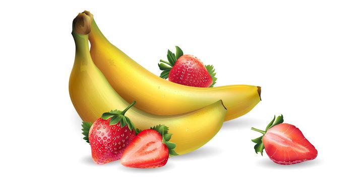 Banana and strawberry