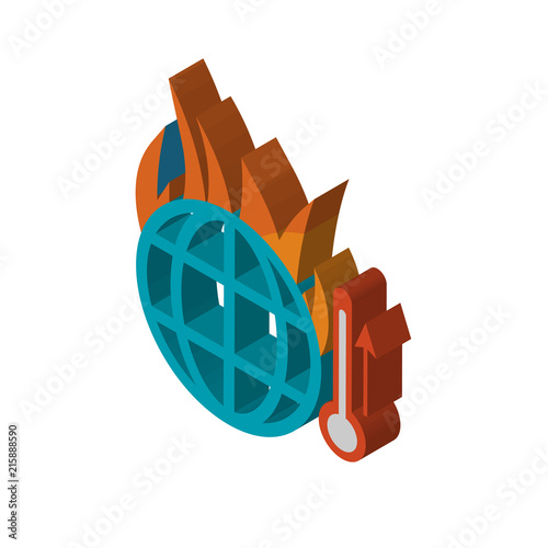 Global Warming Isometric Right Top View 3d Icon Stock Image And