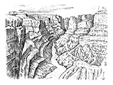 Grand Canyon in Arizona, United States. Graphic monochrome landscape. Engraved hand drawn old sketch. Mountain peaks with forest. Vector illustration for a poster or label.