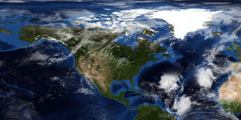 Extremely detailed and realistic 3D illustration of a Hurricane approaching North America. Shot from Space. Elements of this image are furnished by NASA.