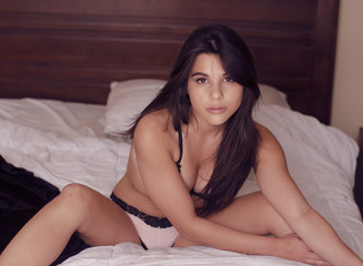 Beautiful brunette model wearing underwear