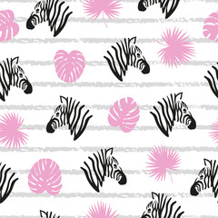 Seamless striped abstract pattern with zebra heads and tropical leaves.