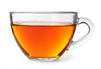 Foto op Plexiglas Thee Glass cup of hot aromatic tea on white background