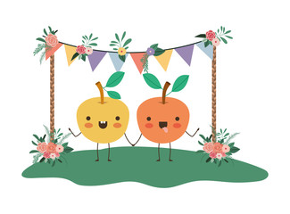 cute oranges couple in the garden kawaii characters vector illustration