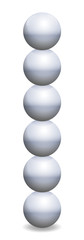 Stacked spheres tower. Six iron balls in unstable balance. Isolated vector illustration on white background.