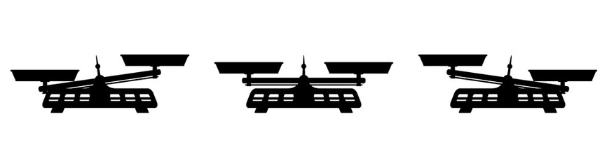 Weighing scale icon with two perfectly balanced pans and a pointer in the middle. Black illustration on white background.