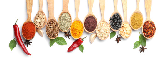 Fotobehang Aromatische Composition with different aromatic spices in wooden spoons on white background