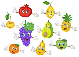 cartoon fruit characters set