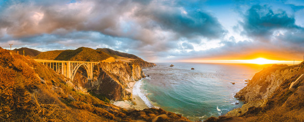 California Central Coast with Bixby Bridge at sunset, Big Sur, California, USA