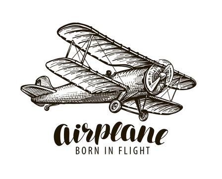 Flying airplane, biplane. Vintage sketch vector illustration