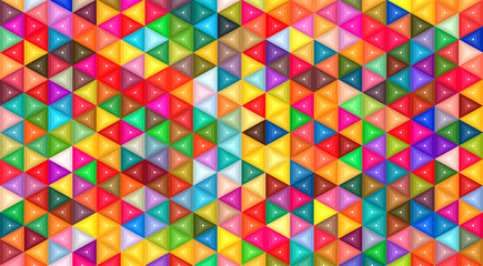 Colorful triangle shapes mosaic background.