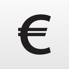 Gray Euro money icon isolated on background. Moder
