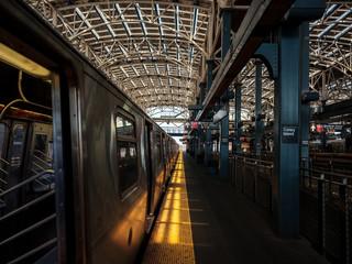 Above ground subway platform at Coney Island, Brooklyn, NYC.