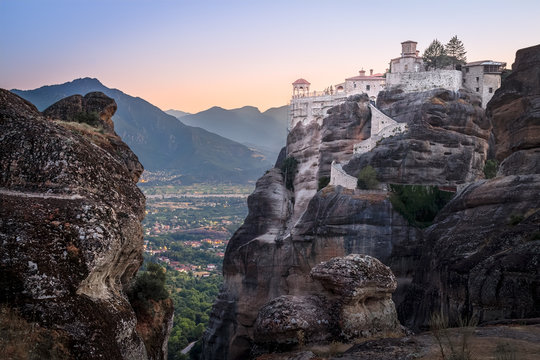 Landscape with rocks andVarlaam Monastery, Meteora, Greece
