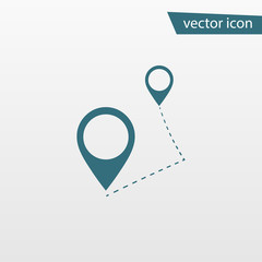 Blue Route icon isolated on background. Modern flat pictogram, business, marketing, internet concept