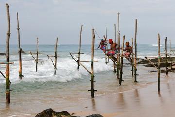 Stelzenfischer am Strand von Koggala in Sri Lanka