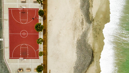 Basketball court at the seashore