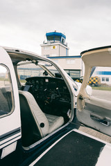 Private Aviation - Cockpit of Small Charter Plane in Front of Ai