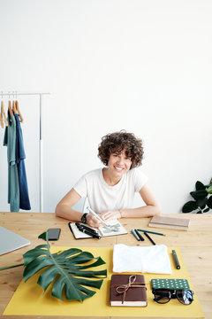 Flat lay designer at work