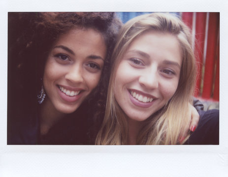 Instant selfie of two women