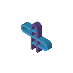 AS or SA isometric right top view 3D icon