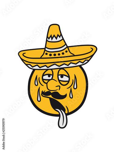 Mexiko Sombrero Südamerika Gesicht Comic Cartoon Kreis Rund