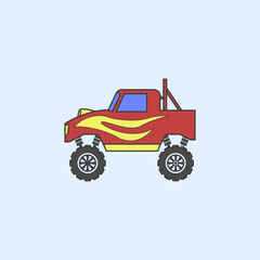 bigfoot car field outline icon. Element of monster trucks show icon for mobile concept and web apps. Field outline bigfoot car icon can be used for web and mobile