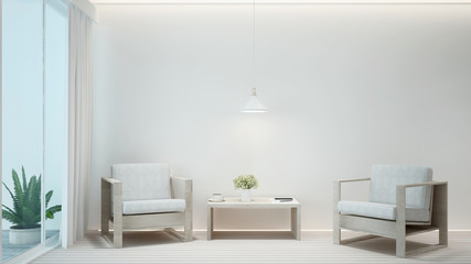Living room and balcony minimal style in hotel or home. Interior simple design. 3D Illustration