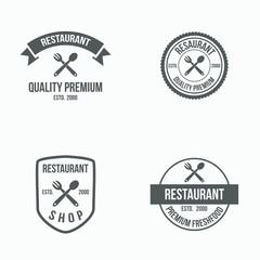 Restaurant logo vintage icons vector symbol illustration emblem isolated modern concept