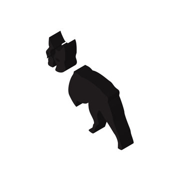 boston terrier isometric right top view 3D icon
