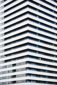 High-rise building with balconies.