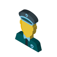 Policeman isometric right top view 3D icon