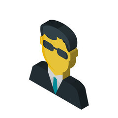 Secret service isometric right top view 3D icon