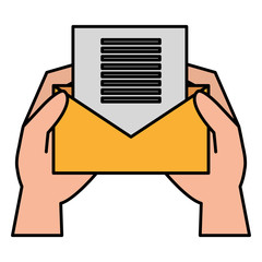 hands with envelope mail vector illustration design