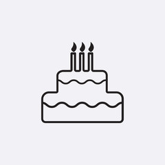 Gray cake icon isolated on background. Modern flat pictogram, business, marketing, internet concept.