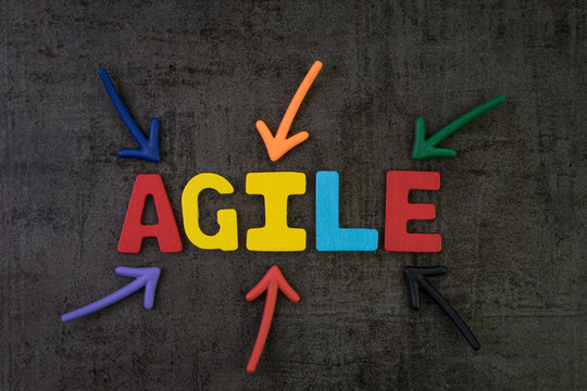 Agile development, new methodology for software, idea, workflow management concept, multi color arrows pointing to the word AGILE at the center of black cement chalkboard wall, fast and flexible