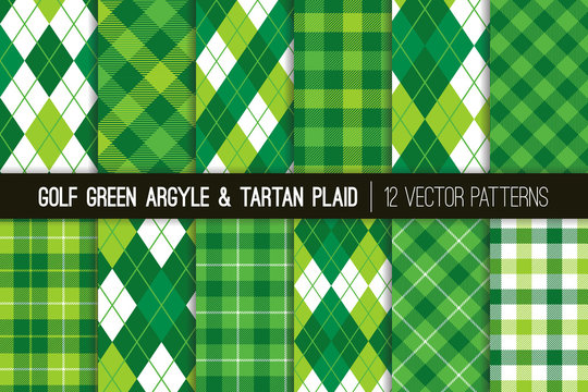 Green Argyle and Tartan Plaid Vector Patterns. Golf Theme Decor for Events or Birthday Parties. St Patrick's Day Background. Popular Sports Fashion Textile Prints. Repeating Pattern Tile Swatches Incl