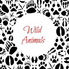 Vector wild animals footprints poster