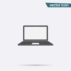 Gray Laptop icon isolated on background. Modern flat pictogram, business, marketing, internet concep