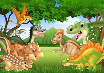Cartoon happy dinosaurs living in the jungle