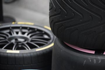 closeup of racing tyres